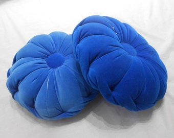Vintage Blue Velvet Round Pillows Scallop Edge Couch Cushion