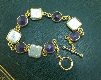 Amethyst and freshwater square pearl bracelet