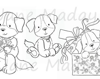 Set of 3 Cute Puppy Stamps