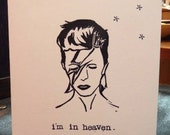 Handcarved Stamp David Bowie Memorial Greeting Card