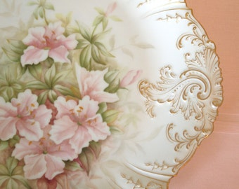 Antique Plate | Limoges Plate | Haviland Plate | Antique Platter | Limoges Platter | Serving Plate w/ Pink Lilies | Charles Field Haviland