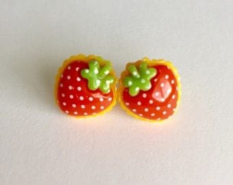 Sweet Berry Stud Earrings - Strawberry Surgical Steel Studs, Post
