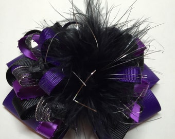 Over the Top Black Purple Silver Glitz Large Hair Bow Big Boutique Toddler Girl