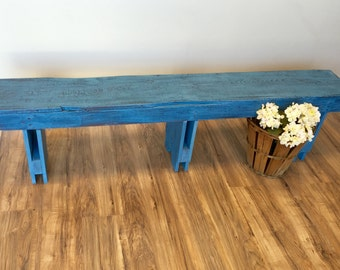 Rustic Wooden Bench, Blue Bench, Long Bench, Rustic Wedding Decor, Vintage Wood Bench