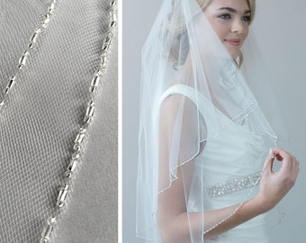 2 Layer Beaded Veil, Beaded Wedding Veil, Bridal Veil with Blusher, 2 Layer Veil, Beaded Bridal Veil, Tulle Veil, Fingertip Veil ~VB-5040