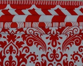 Red and White Fabric Bundle /Chevron, Damask,Quatrefoil, Crimp, Wave/Cotton Sewing Material/7 Fat Quarters/Quilting, Clothing and Crafts/