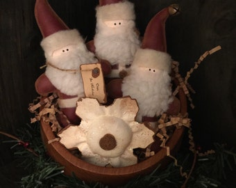 Primitive Christmas Santa and Snowflake Bowl Fillers
