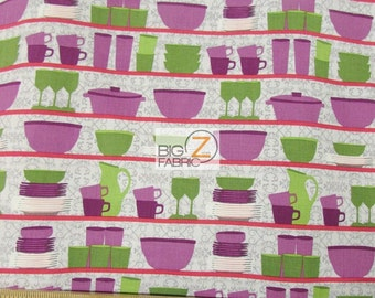 Table Talk Colored Plates By Robert Kaufman 100% Cotton Fabric - Sold By The Yard (FH-2509) Dishes
