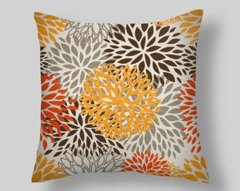 Pillow Decorative Throw Pillow Covers Accent Pillows Cushion Covers 18 x 18 Inches Orange Gray Brown Premier Prints Floral