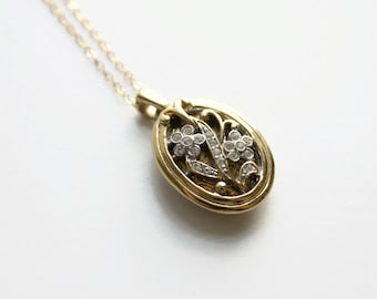 Vintage Gold Rhinestone Locket Necklace, Floral, Circa 1970's