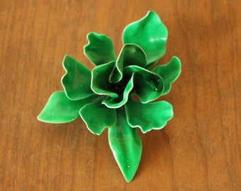 Vintage Green Enamel Flower Brooch, Retro Costume Jewelry, Mid Century Flower Pin, Circa 1960's