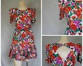 Sale 1980's Flower Burst Dress / Vintage Dress / Flirts Dress / Spirit Revival Dress / Vintage Mini Dress S
