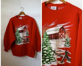 Sale Ugly Christmas Sweater / Ugly Sweater Party / Christmas Country Barn  / Christmas Sweatshirt L/XL