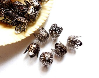 10 Gunmetal Filigree Bead Caps - 18-GM-14