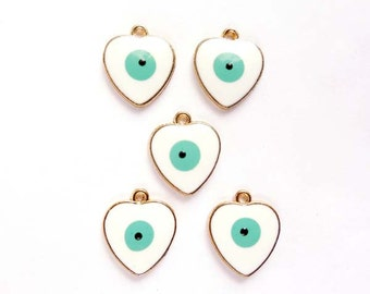 5 Gold Plated Heart Evil Eye Charms - 21-34-13