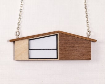 Wooden Necklace | MidCentury Modern House Necklace | Walnut Necklace | Wooden Jewelry | Laser cut Jewelry