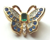 Vintage SWAROVSKI Butterfly Brooch Pin,  Rhinestone Crystal, Gold-Tone Blue Green Clear, Signed, Lapel Figural Collectable Scatter Pin