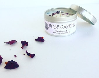 Rose Garden Soy Candle with Rose Petals