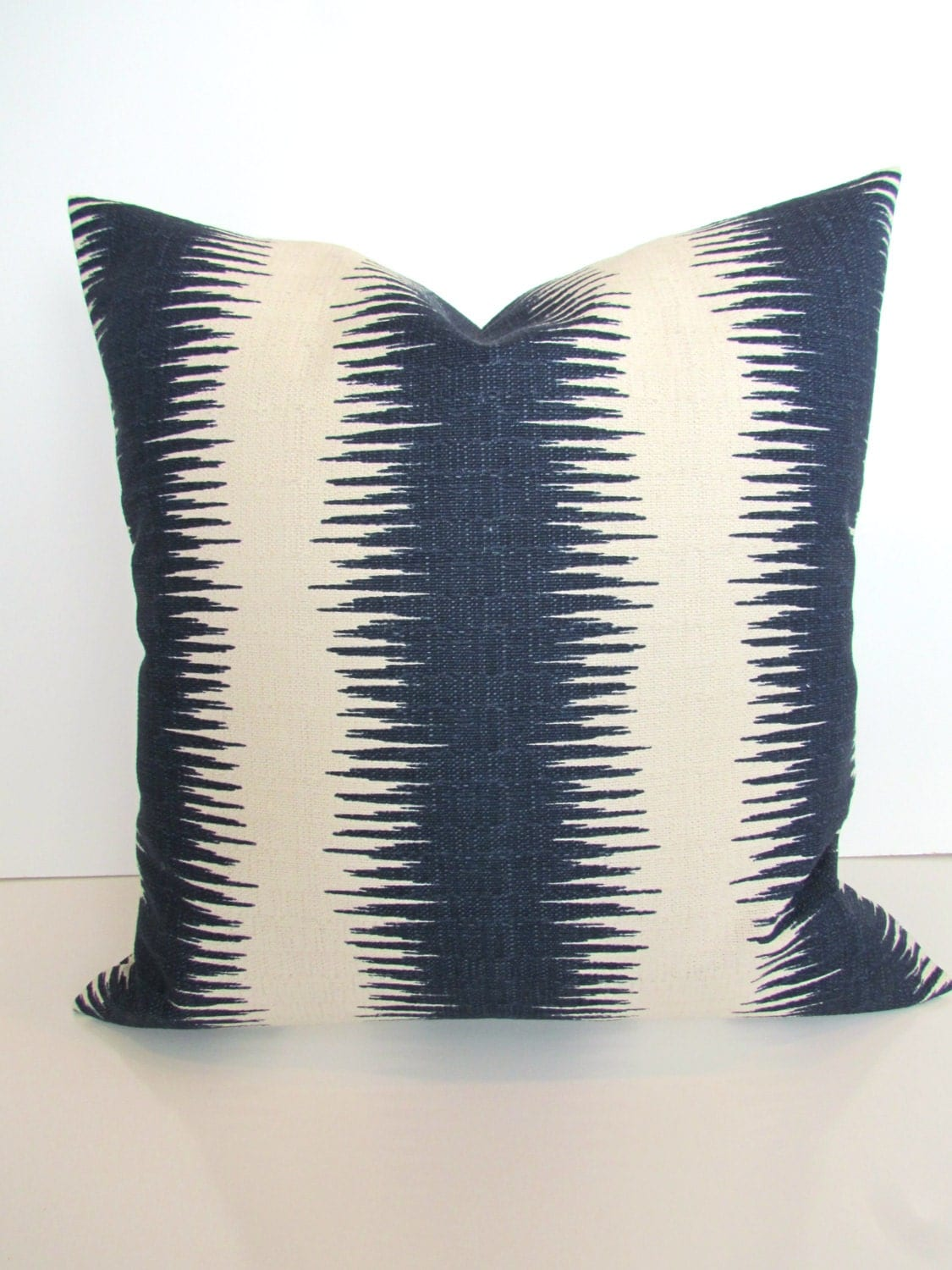Blue Striped Decorative Pillows : BLUE PILLOWS Navy Blue Stripe Throw Pillow Covers Gray Ikat 20