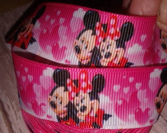 Mickey and Minnie Hearts Grosgrain Ribbon