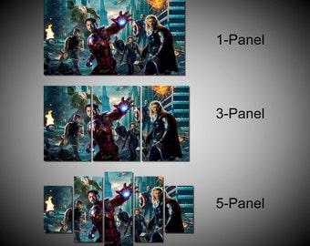 Framed Marvel Avengers Super Hero, Captain America, Iron Man, Hulk, Thor, Hawkey Wall Canvas Art - Ready to Hang