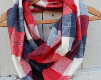 Ready to Ship Plaid Scarf Navy and Red Plaid Scarf Navy Plaid Scarf Red White and Blue Scarf Patriotic Scarf