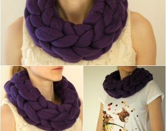 GIANT infinity scarf! Giant 100% merino wool scarf, SUPER soft, chunky, thick, AMETHYST