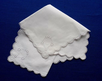 Handkerchiefs, a pair, vintage.   They are white cotton with broderie-Anglaise machine embroidery.  c 1950's.