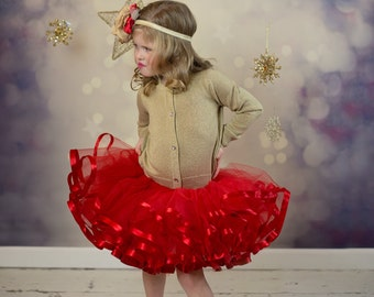 Red Christmas tutu. Satin ribbon trimmed Petti tutu.