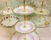 3 Tier Cake Stand, Pink Banded with Gold Tassels