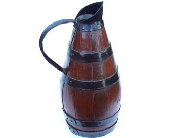 Antique French wooden Wine Jug PITCHER iron hoops hand made by  cooper cider Normandy