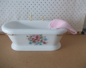 Dolls house Bath  in white with  floral design