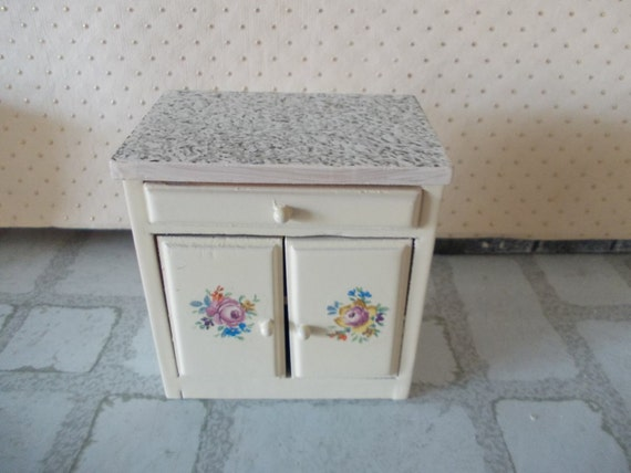 Dollhouse kitchen cabinet unit in cream 1 12th sale miniature for Kitchen drawer units for sale