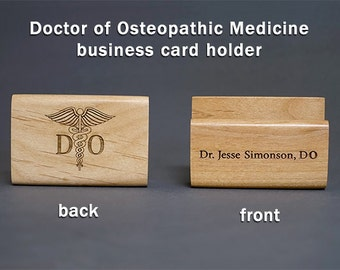 Doctor of Osteopathic Medicine DO Personalized Wooden Business Card Holder