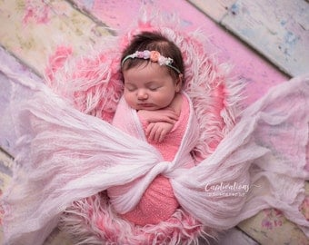 Newborn Photo Prop Set: Bubble Gum Pink Knit Wrap with Free Shabby Chic Headband for Newborn Photo Shoot, Maternity Prop, Infant Photography
