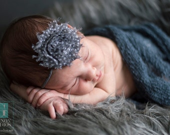 Charcoal and White Polka Dot Shabby Chic Headband, Newborn Headband, Infant Headband, Photo Prop, Many Colors