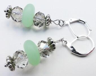 Sea Glass Earrings, Summer Earrings, Czech Bead Earrings, Glimmering Earrings