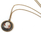 Vintage Cameo Necklace Carved Shell Circle Pendant Rhinestones Gold Filled Chain Art Deco Signed P & K