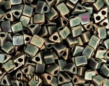 5/0 Matte Metallic Patina Iris Sharp Triangle Bead - 20 grams - Miyuki Color 2008 - Patina Iris Triangle Beads - 1871