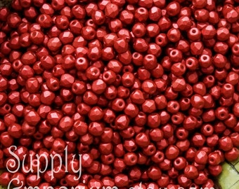 3mm Lava Red Firepolished Faceted Round Bead - Czech Glass Fire Polished 3mm Lava Red Round Beads -2631- 100 Beads