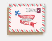 Sending You Love Card - Retro Airmail Card - Retro Valentine's Card - Airmail Card - Valentine's Day Card - Snail Mail Card