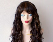 Brown / Auburn wig. Beach wave hairstyle wig. Long brown curly wig. Heat resistant synthetic wig for daily use or Cosplay