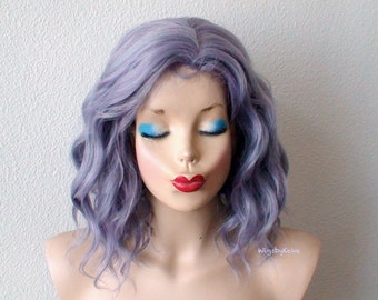 Pastel wig. Dark Lavender Gray hair wig. Short Beach wave hairstyle wig. Durable heat friendly synthetic wig for daily use or Cosplay