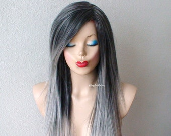 Ombre wig. Lace front wig. Gray hair Salt-paper hair wig. Durable heat friendly synthetic wig for daily use or Cosplay.