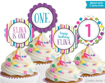 Polka Dot Party Decor Printable Birthday Toppers First Birthday Decor Printable Toppers Cupcake Toppers Bright Dots Birthday Personalized