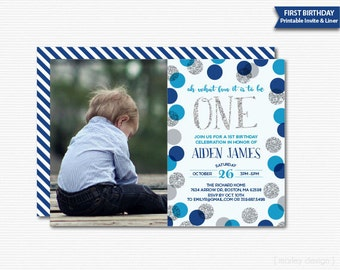 First Birthday Invitation Boys Photo Invitation Picture Invitation Blue Silver Glitter Polka Dots Boys 1st Birthday 1st Birthday Invitation
