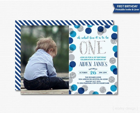 First Birthday Invitation Boys Photo Invitation Picture Invitation