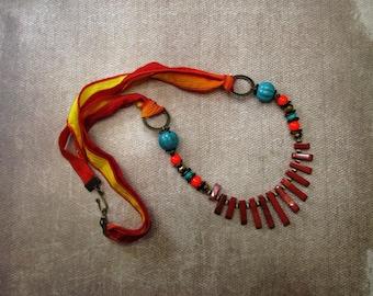 Red jasper bib necklace bohemian sunset boho gift ideas for her crinkle silk handpainted silk graduated pendant