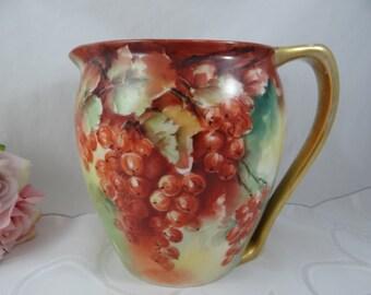 "Vintage Hand Painted Artist Signed ""Morris"" Porcelain Water Lemonade Cherry  Pitcher - Stunning"