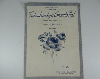 """Vintage Piano Sheet Music - """"Tschaikowsky's Concerto No.1 """" 1941 from The Great Lie"""